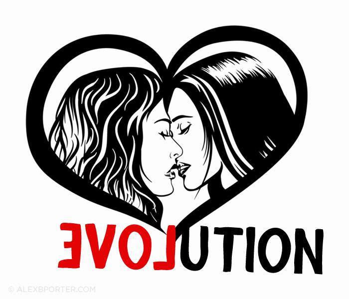 evolution lesbian gay LGBT kiss stencil street art style